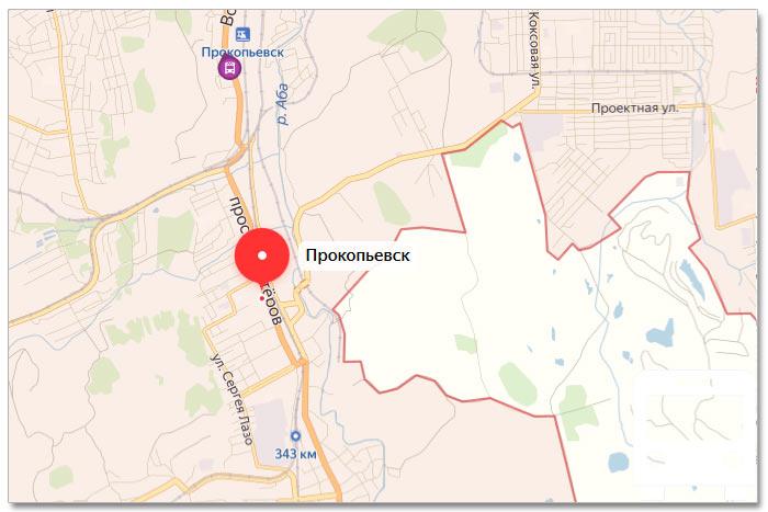 Местоположение транспорта онлайн на карте города Прокопьевска