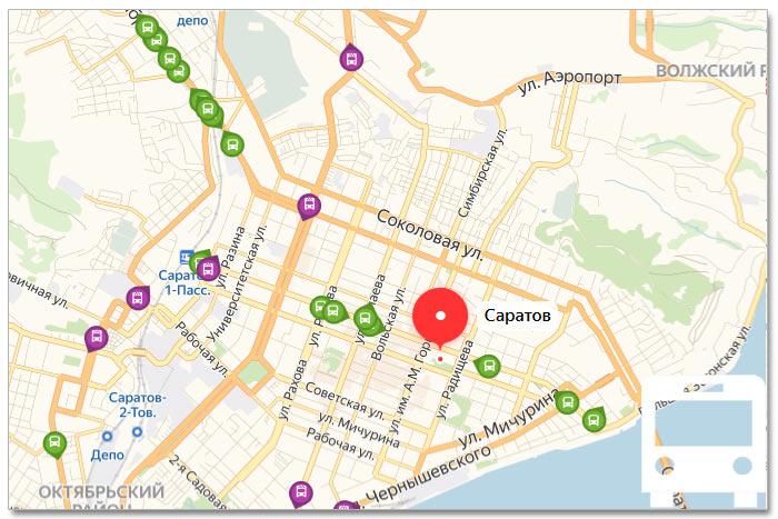 Местоположение транспорта онлайн на карте города Саратова