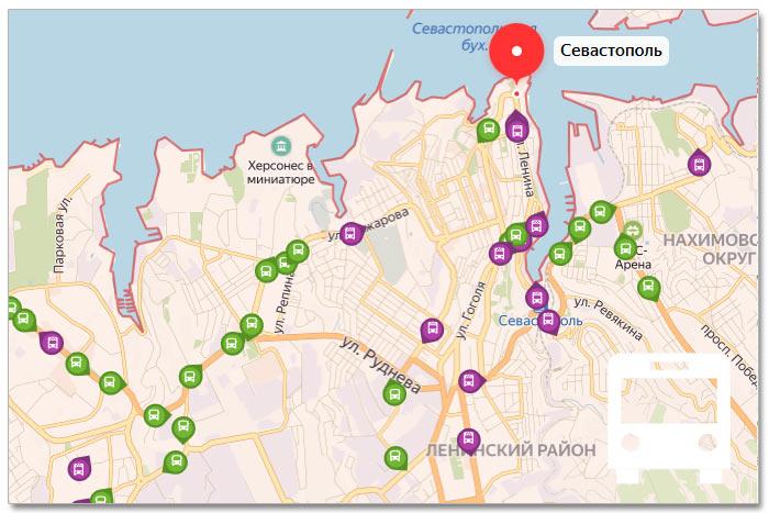 Местоположение транспорта онлайн на карте города Севастополя