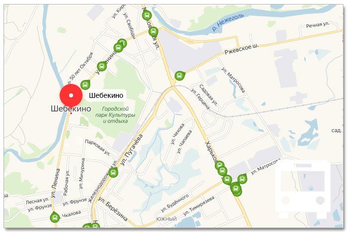 Местоположение транспорта онлайн на карте города Шебекино