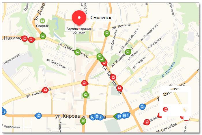 Местоположение транспорта онлайн на карте города Смоленска