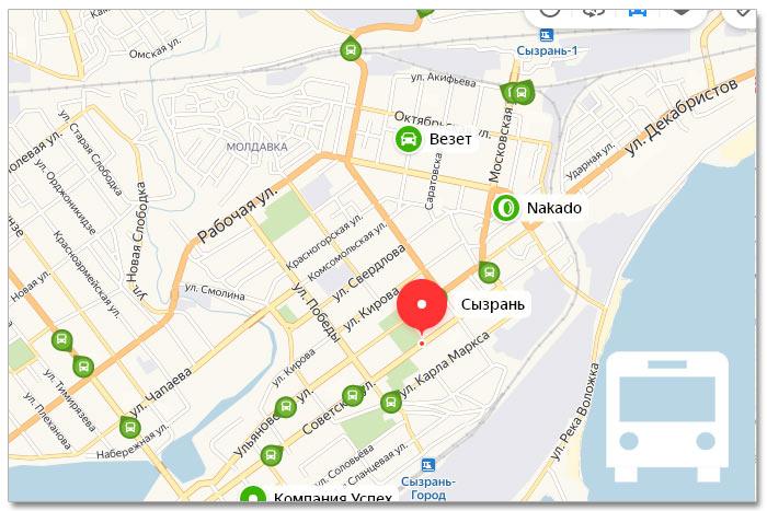 Местоположение транспорта онлайн на карте города Сызрань