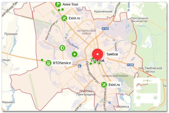 Местоположение транспорта онлайн на карте города Тамбова
