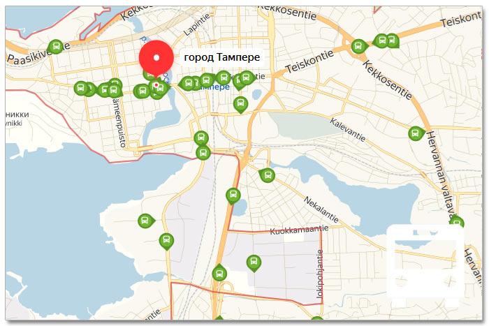 Местоположение транспорта онлайн на карте города Тампере