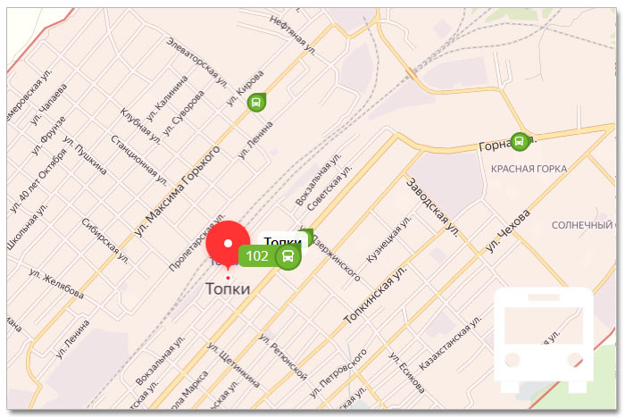 Местоположение транспорта онлайн на карте города Топки