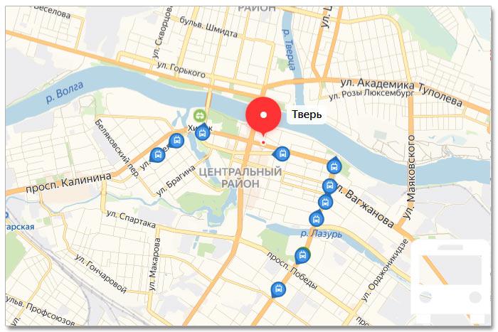 Местоположение транспорта онлайн на карте города Тверь