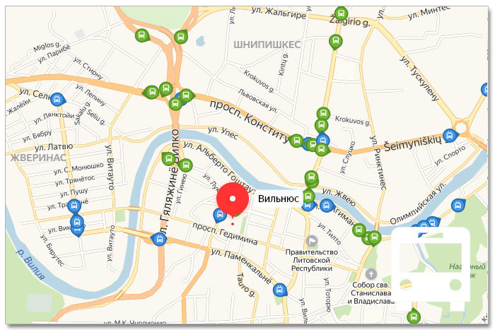 Местоположение транспорта онлайн на карте города Вильнюса