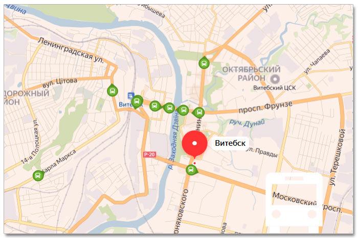 Местоположение транспорта онлайн на карте города Витебска