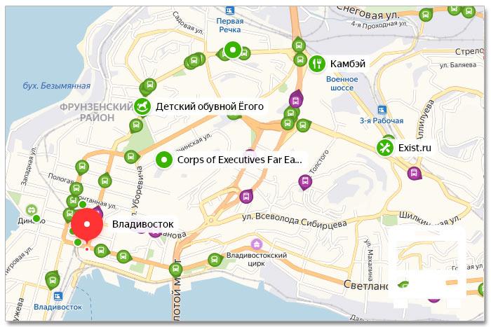 Местоположение транспорта онлайн на карте города Владивостока