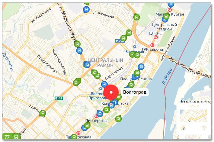 Местоположение транспорта онлайн на карте города Волгограда