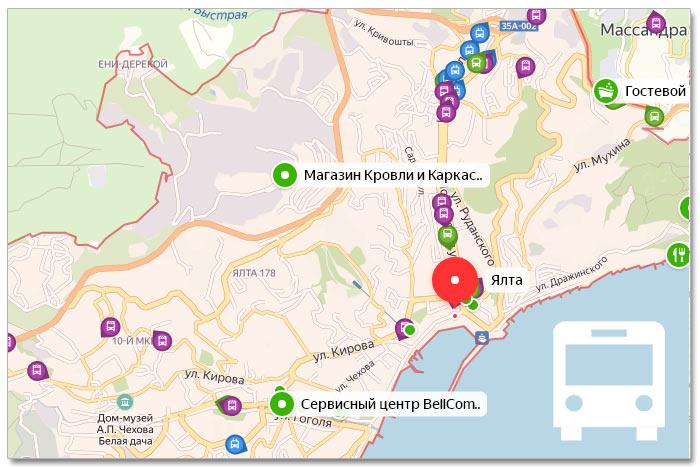 Местоположение транспорта онлайн на карте города Ялта