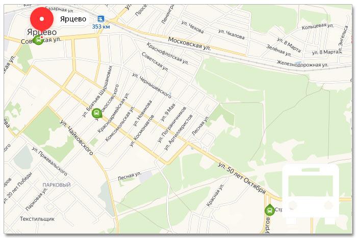 Местоположение транспорта онлайн на карте города Ярцево