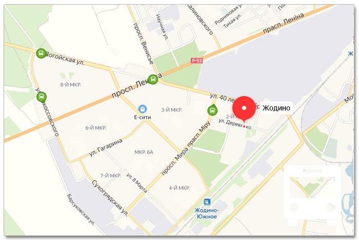 Местоположение транспорта онлайн на карте города Жодино